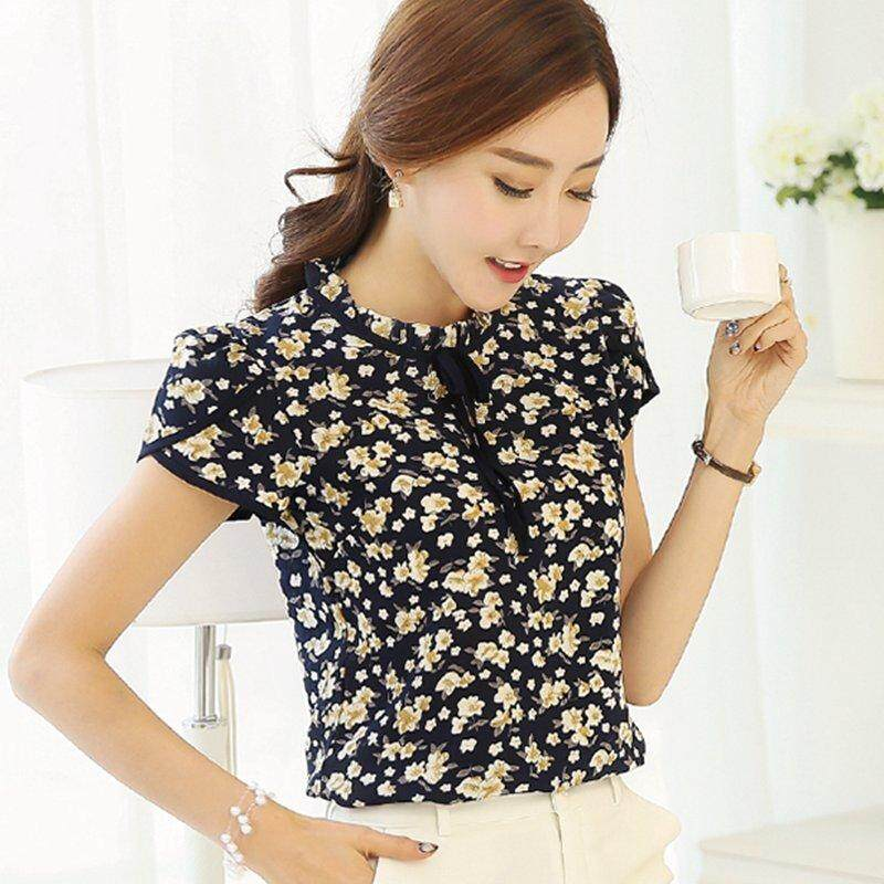 cf564163513 Summer Floral Print Chiffon Blouse Ruffled Collar Bow Neck Shirt Petal  Short Sleeve Chiffon Tops