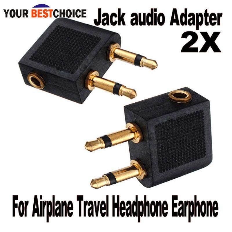 YBC 2 pcs Airline Airplane Earphone Headphone Headset Jack Audio Adapter 3.5mm