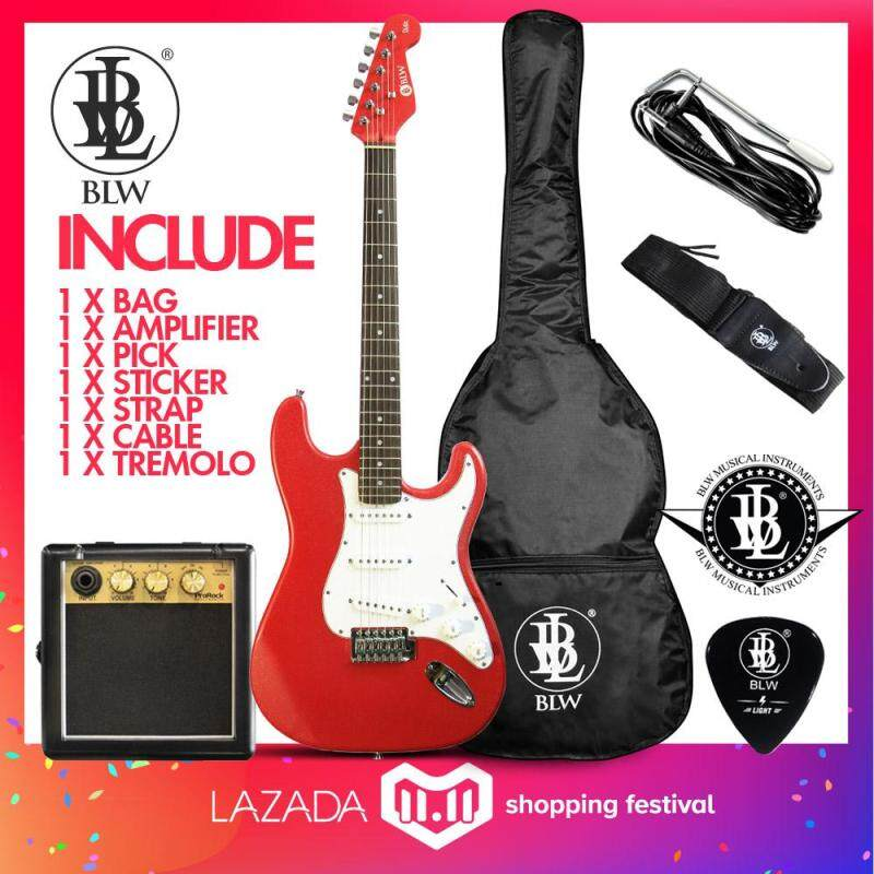 BLW Glitz Stratocaster Style Electric Guitar Starter Beginner Pack comes with ProRock Mini Amplifier, Bag, Cable, Strap, Pick and Merchandise Sticker (Red) Malaysia