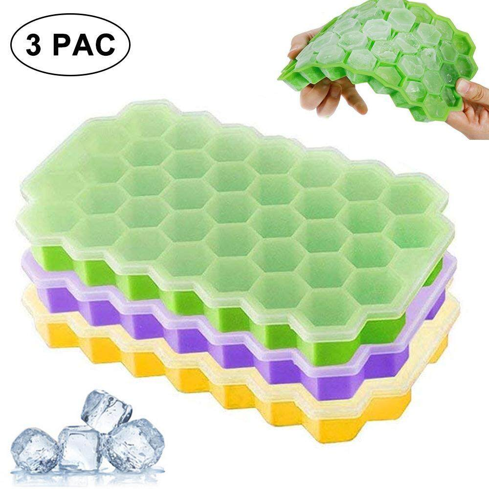 Ice Cube Trays Silicone Bpa Free,37 Cubes Honeycomb Shape Easy Release Ice Mold Storage Containers With Non-Spill Lid For Cocktail , Whiskey And Any Drink By E-One.