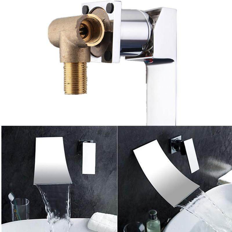 Bathroom Faucet Single Handle Sink Mixer Tap Wall Mounted Chrome Brass Waterfall