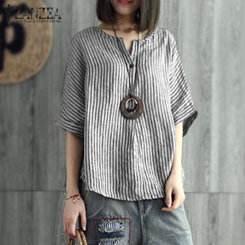 9c8f8d83301 ZANZEA Women Stripe Batwing Shirt Tops V Neck Casual Oversize T-Shirt Blouse