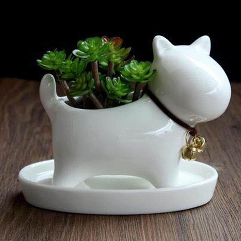 Lovely Creative Ceramic Dog Cat Flowerpot Mini Succulent Plant Container Home Office Decorations