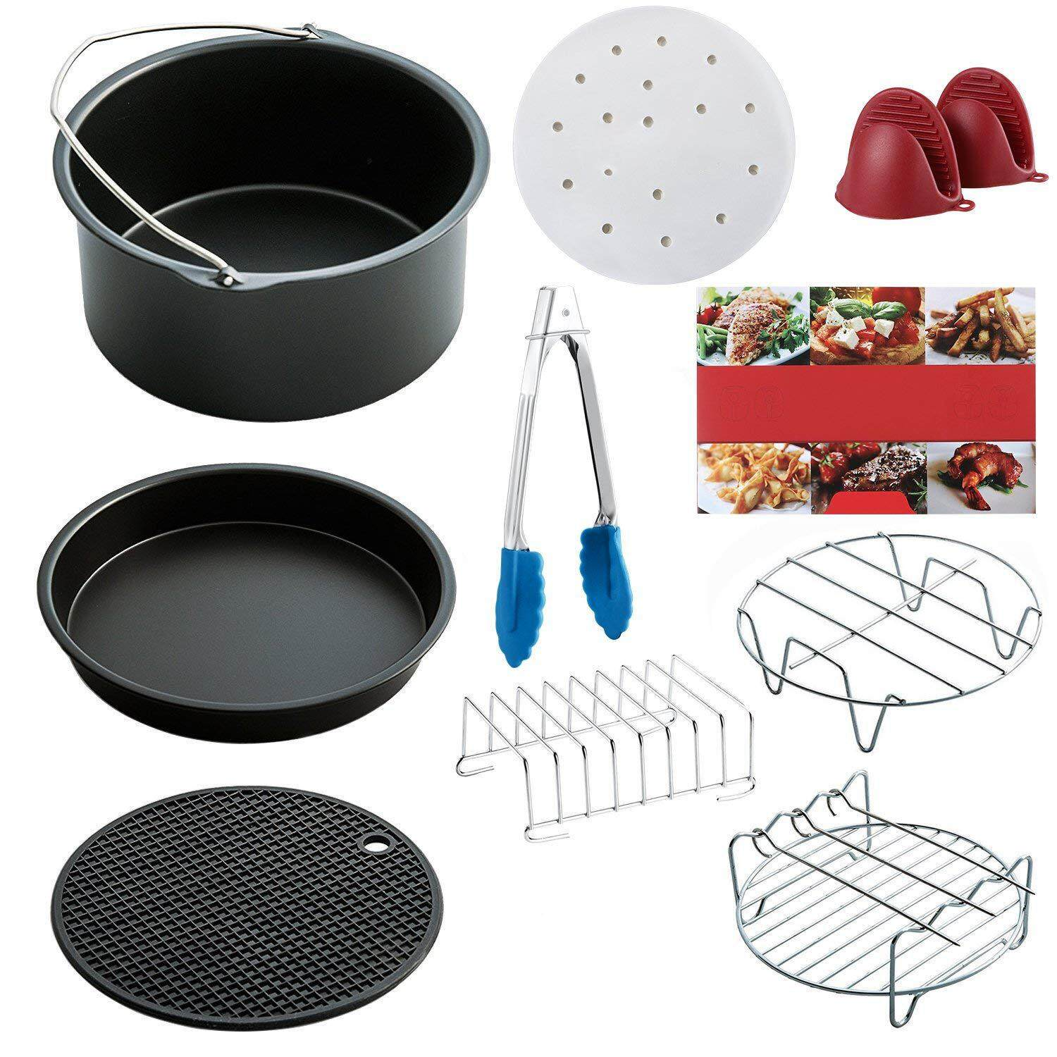 Air Fryer Accessories Set Of 10 Pcs, Fit All Standard Air Fryer 3.7qt- 5.3qt- 5.8qt, 7 Inch Free Shipping By Rainning.