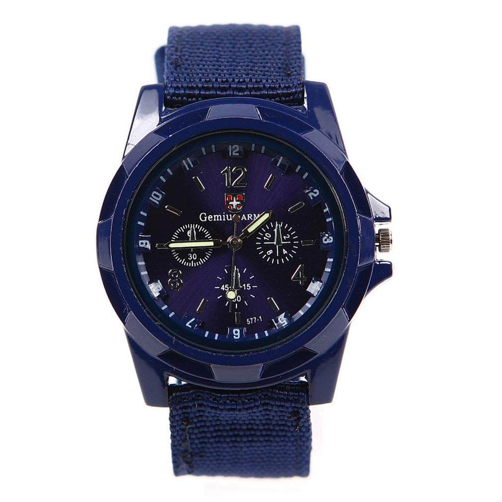 Sport Style Canvas Belt Quartz Wrist Watch Dark Blue Malaysia