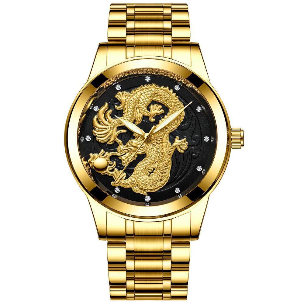 Mens Fashion Luxury Business Gift Gold Dragon Watch Male Popular Holiday and Birthday Diamond Quartz Watch Clock Malaysia
