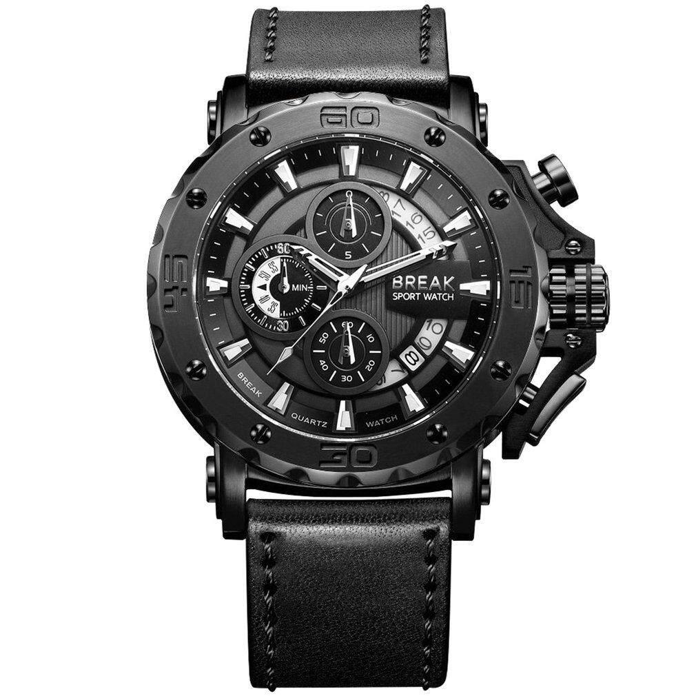 ... BREAK Men Watch Leather Strap Calendar Waterproof Chronograph Quartz Watch