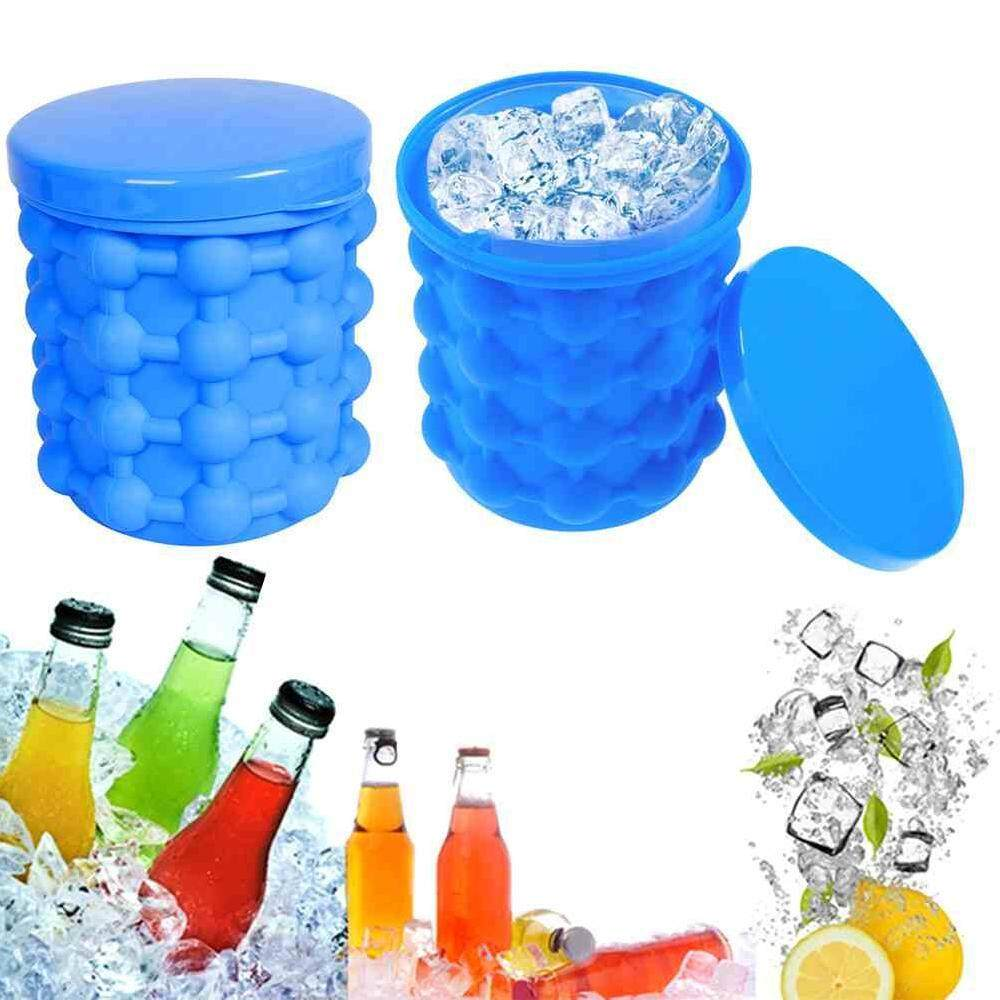 Wuli 1pc Ice Genie Cube Maker, Dual-Use Ice Cube Bucket, Silicone Ice Cube Mould Save Space 13*13*14cm By Wuli.