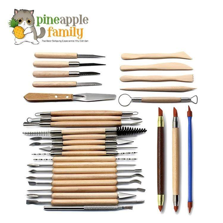 30pcs Clay Sculpting Tools Pottery Carving Tool Set Wooden Handle Modeling Clay Tools By Pineapple Family.