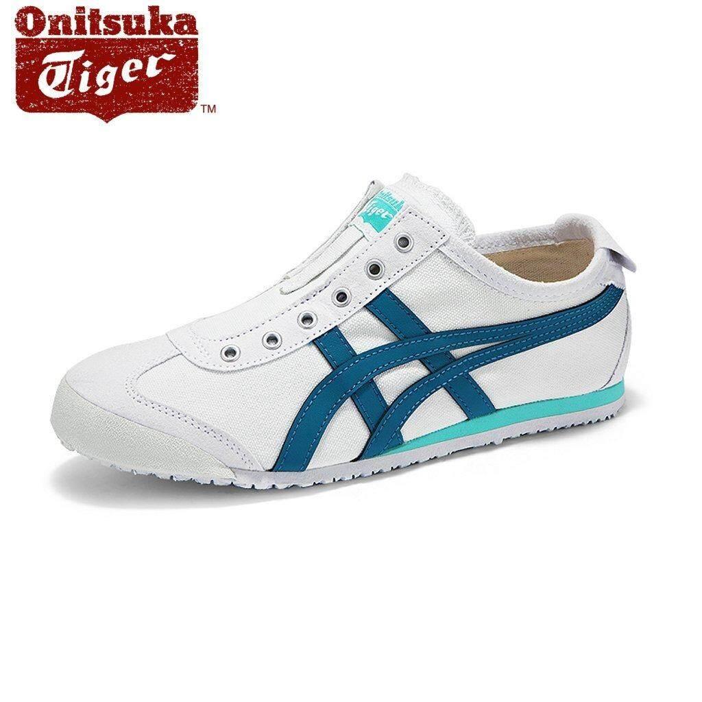 los angeles 769c7 04d47 Onitsuka Tiger Womens Mexico66 Slip-on D3K5N-0146 White/Turkish Blue