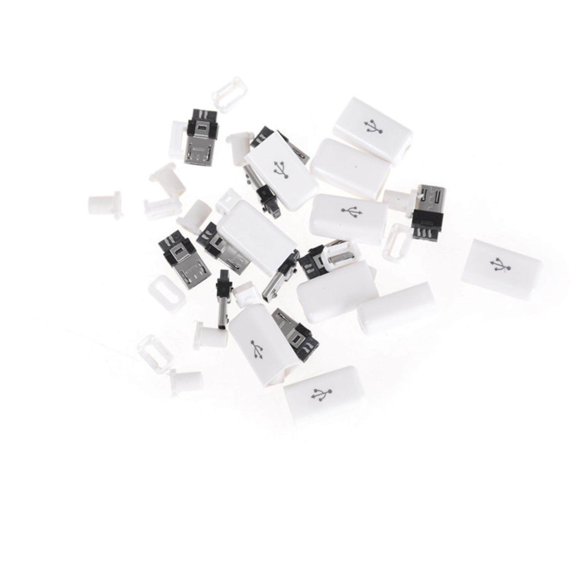 10sets DIY Micro USB Male Plug Connectors Kit W/ Covers White