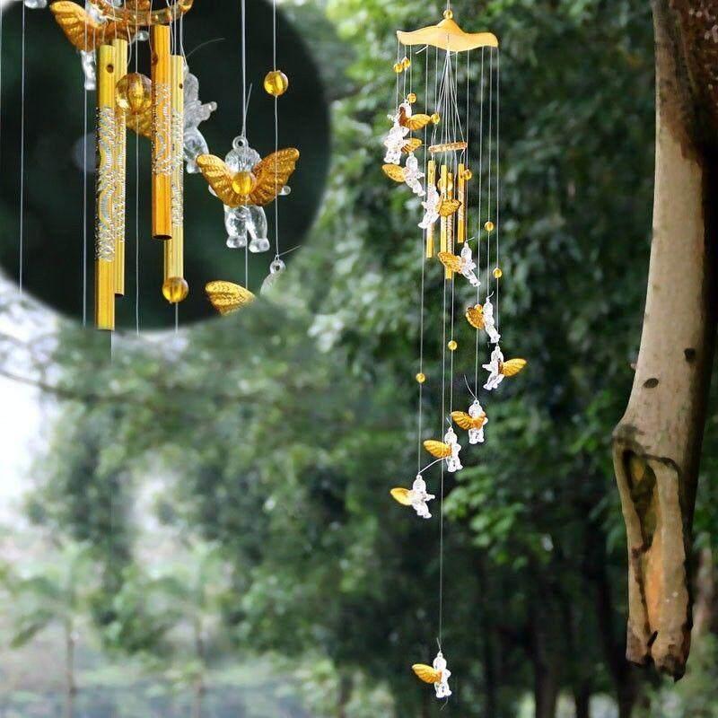 Dolity Windchime Metal 4 Tubes Angel Cubitt Hanging Ornament Home Feng Shui Decor