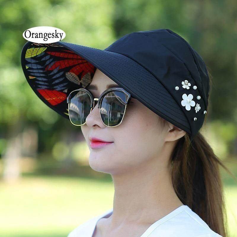 Orangesky Women Lady Sunhat Beach Hat Uv Protection Anti-Uv Casual Visors Foldable Cap For Outdoor By Orangesky.