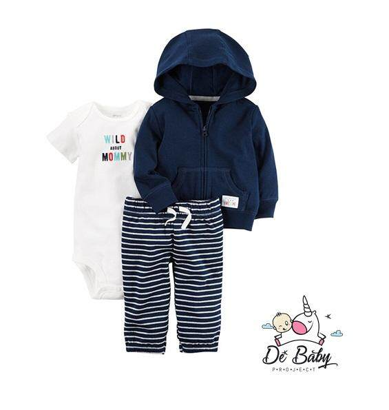 Month 0-24 New Baby Infant Kids Romper 3pcs Set ( Jacket,romper & Pants) Plain By De Baby Shop.
