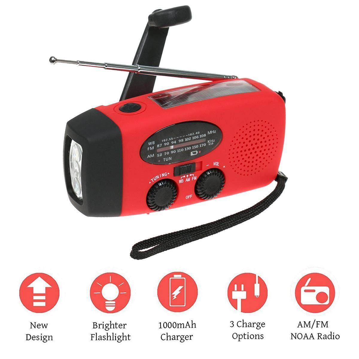 Womdee [2018 Version]emergency Weather Radio, Am/fm Solar Hand Crank Weather Radio With 3 Led Flashlight, For Iphone/android Smart Phone, 3 Ways To Charge, Red By Womdee.