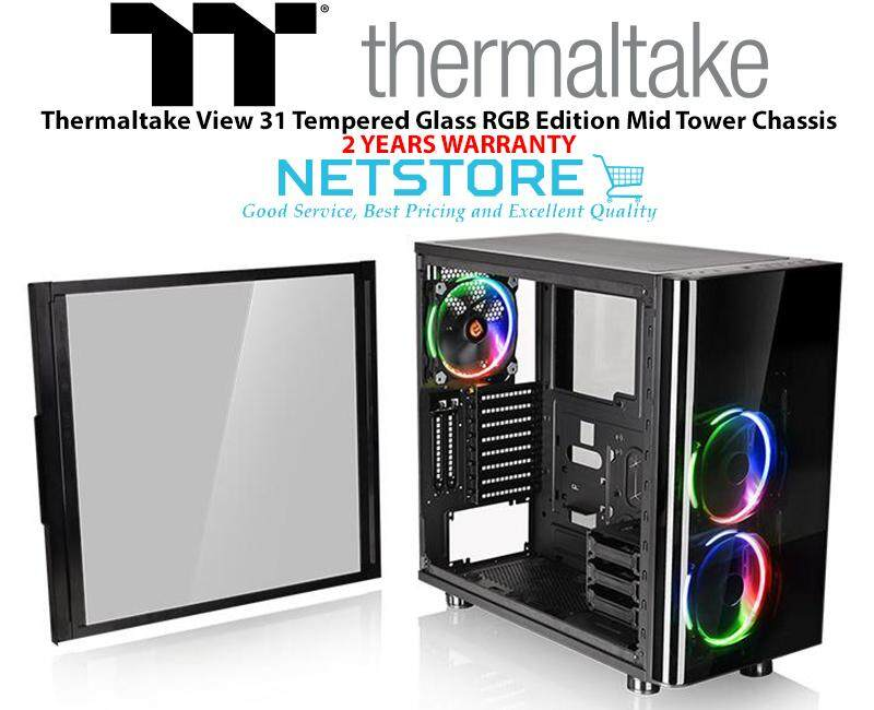 Thermaltake View 31 TG Tempered Glass RGB Edition Mid Tower Chassis CA-1H8-00M1WN-01 Malaysia