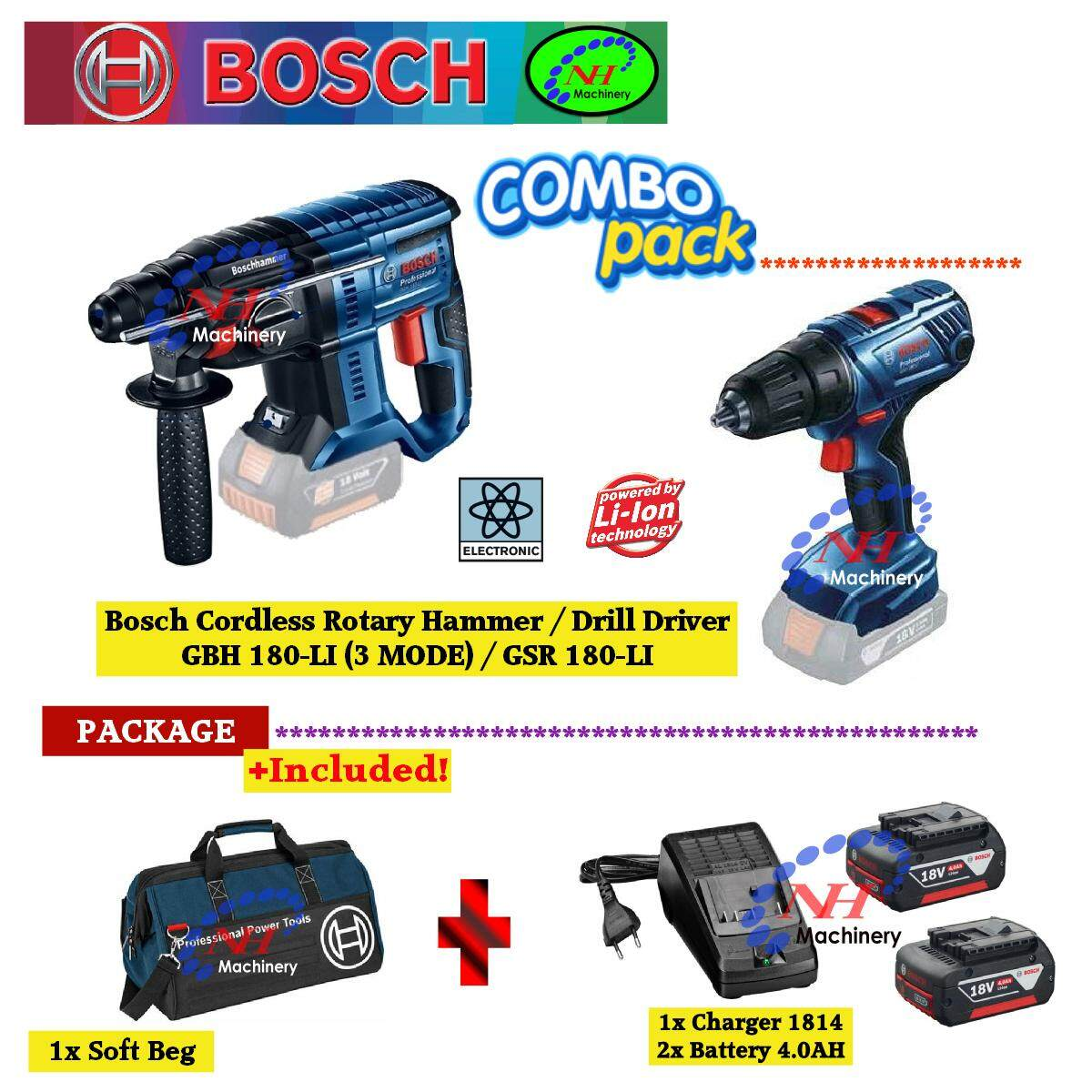 Bosch Home Drills Drivers Price In Malaysia Best Gsb 550 Professional Mesin Bor Tembok X Line 33 Pcs Gbh180 Li Gsr180 Cordless Rotary Hammer Driver Combo Set
