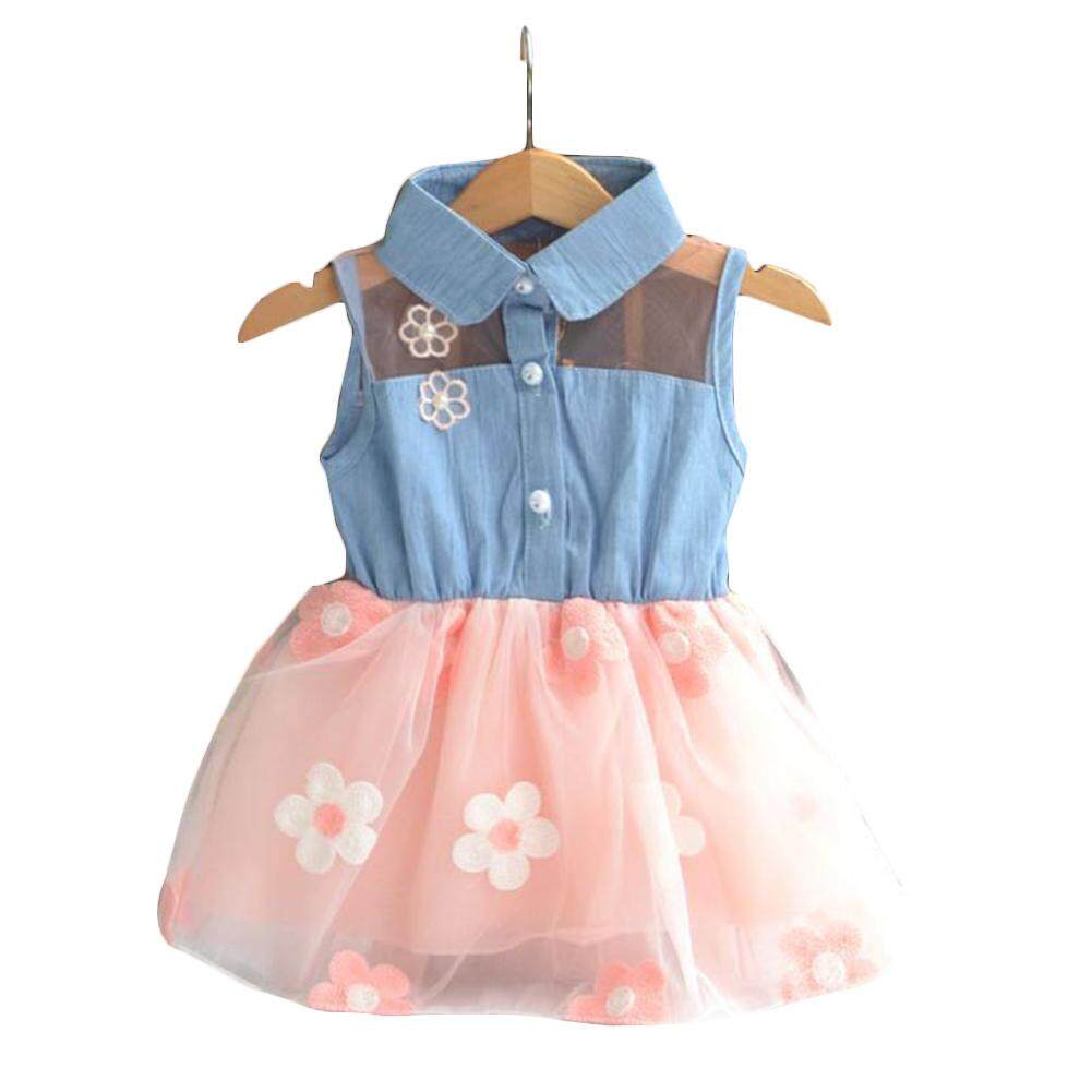 YBC Fashion Baby Girls Princess Dresses Denim Top Sun Flower Tutu Dresses