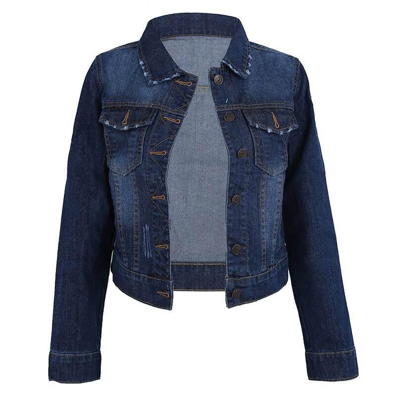 04bc9696608 Women Lapel Cropped Denim Jeans Long Sleeve Jacket Coat Short Blazer Dark  Blue 4XL