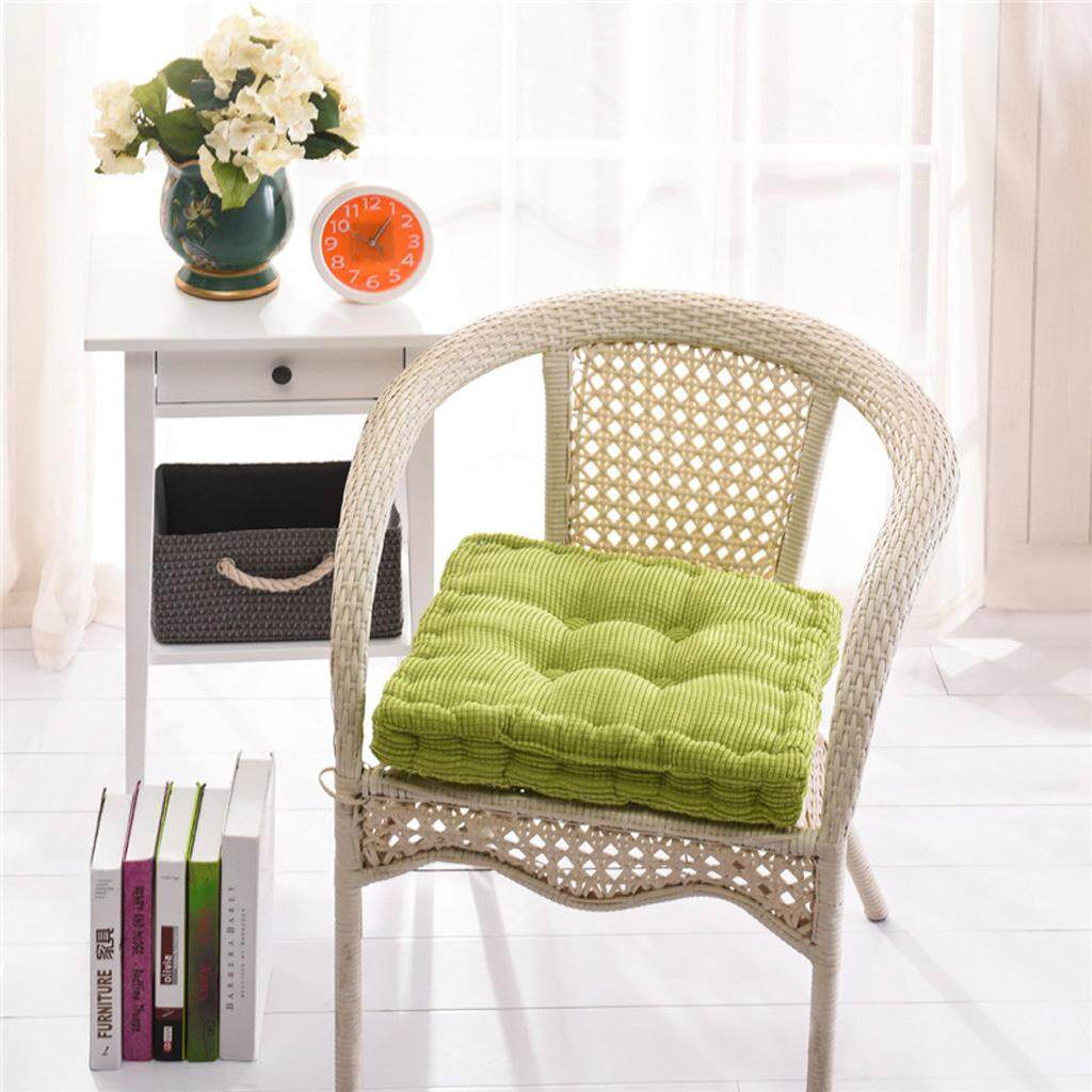 Dolity Thick Corduroy Sofa Office Square Garden Seat Chair Cozy Cushion Pad Green