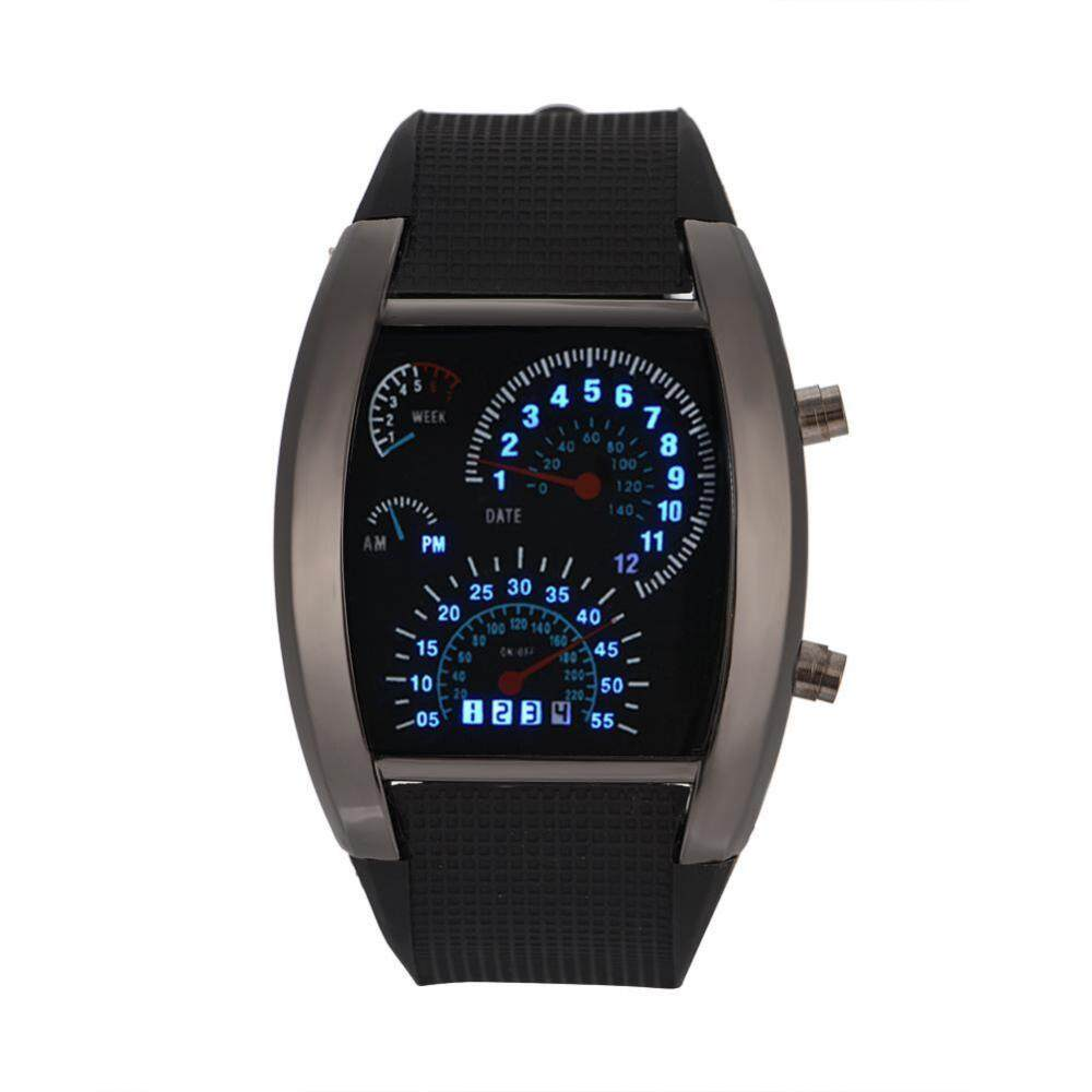 4Colors Male LED Quartz Watch Rectangle Plastic Strap Date Simulated Racing Dial Wristwatch Malaysia