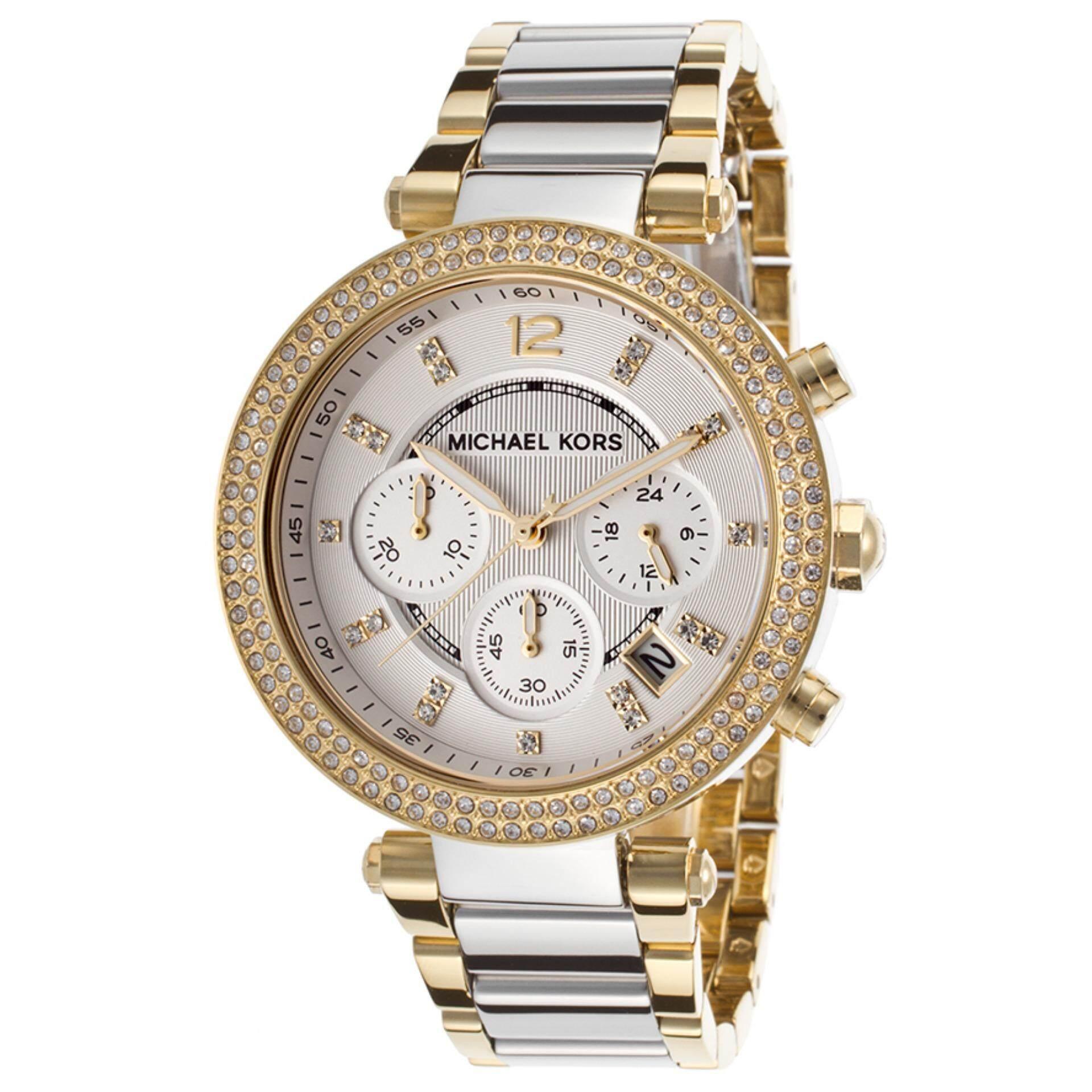 Michael Kors Womens Parker Chrono Crystal Bezel Two tone Watch MK5687 Malaysia