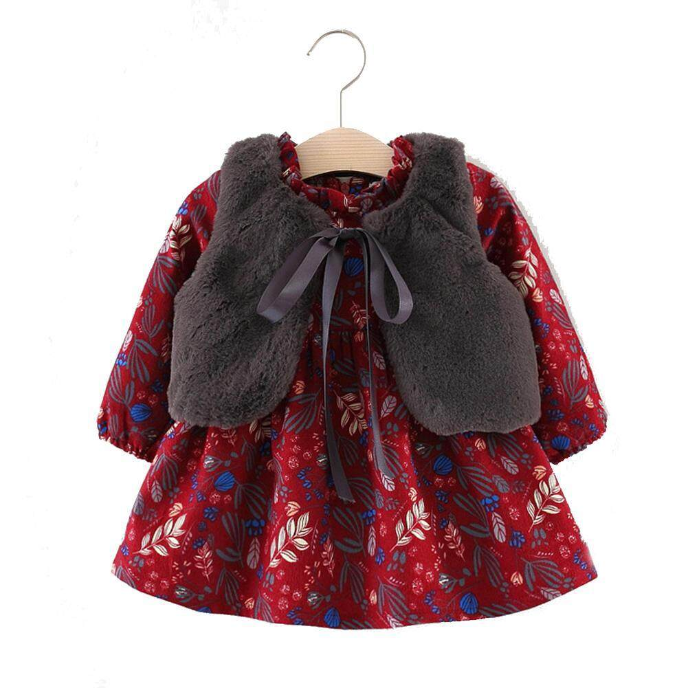 Cute Little Baby Girl Dress Warm Winter Long Sleeve Cotton Dress With Warm Vest By Cherishone.