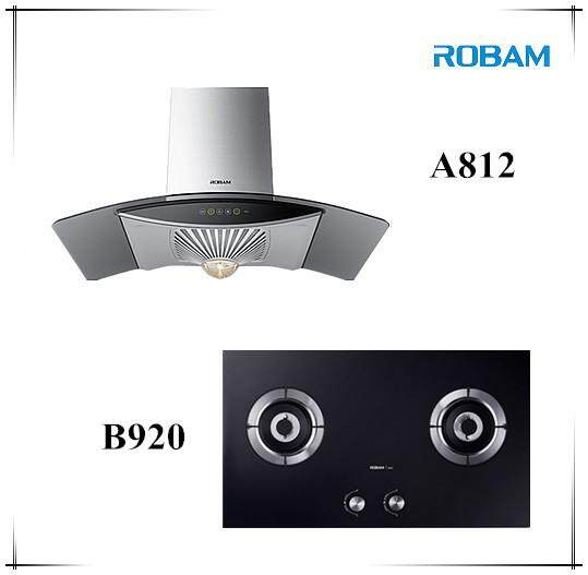 ROBAM A812 Chimney Hood + B920 Burners Glass Hob