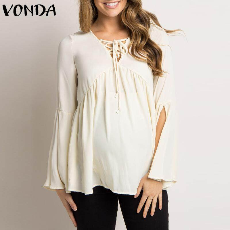 a1a09a3f87cda VONDA Maternity Pregnant Women Oversized Bell Sleeve Loose Chiffon Top  Blouse Shirt
