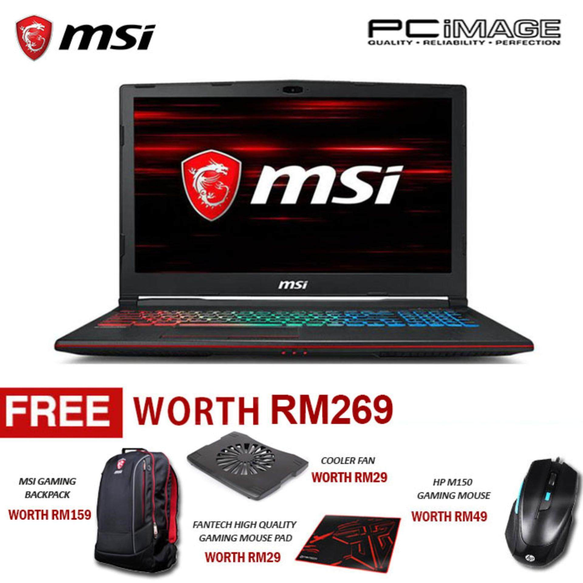 MSI GP63 8RE-299 Leopard (Intel i7-8750H, 8GB, 1TB+256GB, Gtx1060, W10) Gaming Notebook-Black Malaysia