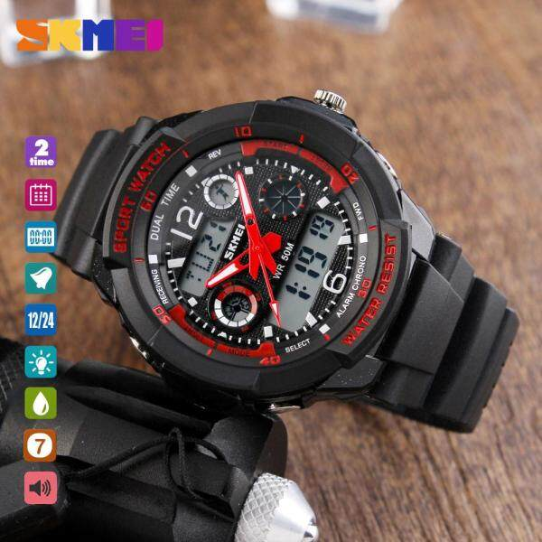 SKMEI 1060 Teenager Fashion Watch Casual Digital Wristwatch Alarm Hourly Chime Split Time Chronograph Date Week 50m Waterproof EL Backlight Malaysia