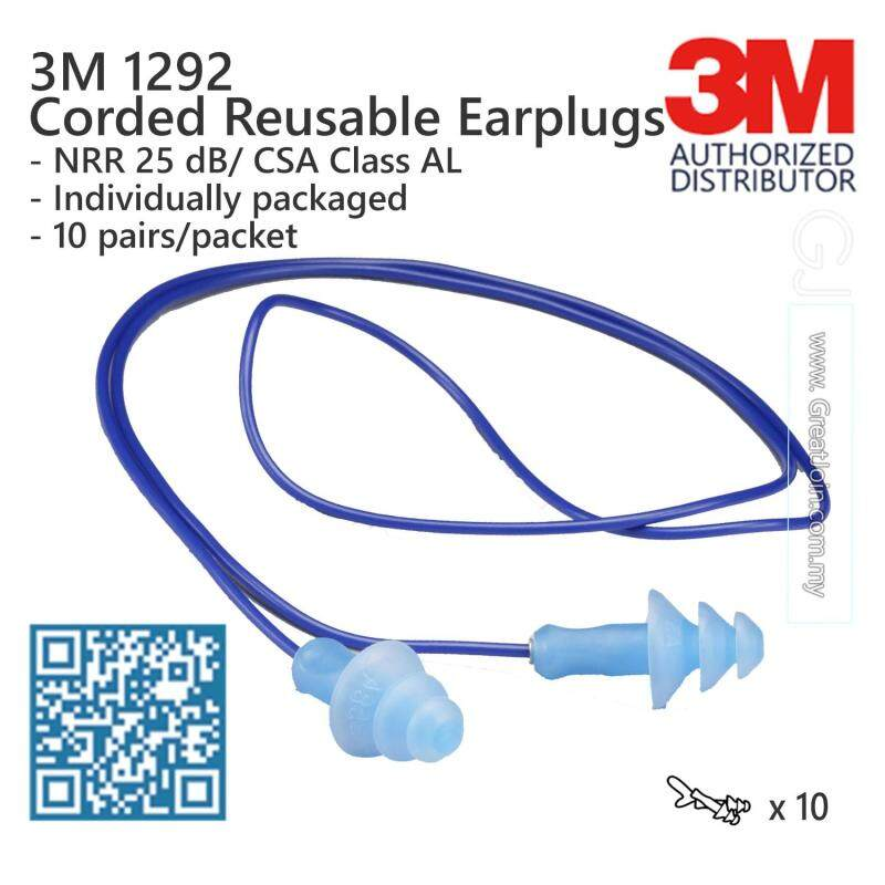 3M 1292 Reusable Earplugs With Plastic Cord NRR 25 dB [10 Pair/Packet] Made in Brazil