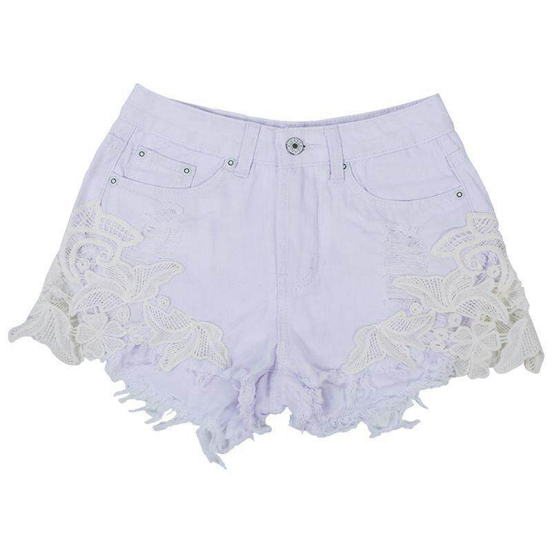 Womans New Sexy Lace Patchwork Pants High Waisted Tassels Ripped Shorts Jeans Trousers, White Xs By Fastour.