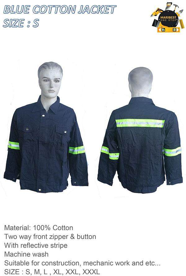 BLUE COTTON WORK JACKET SIZE S