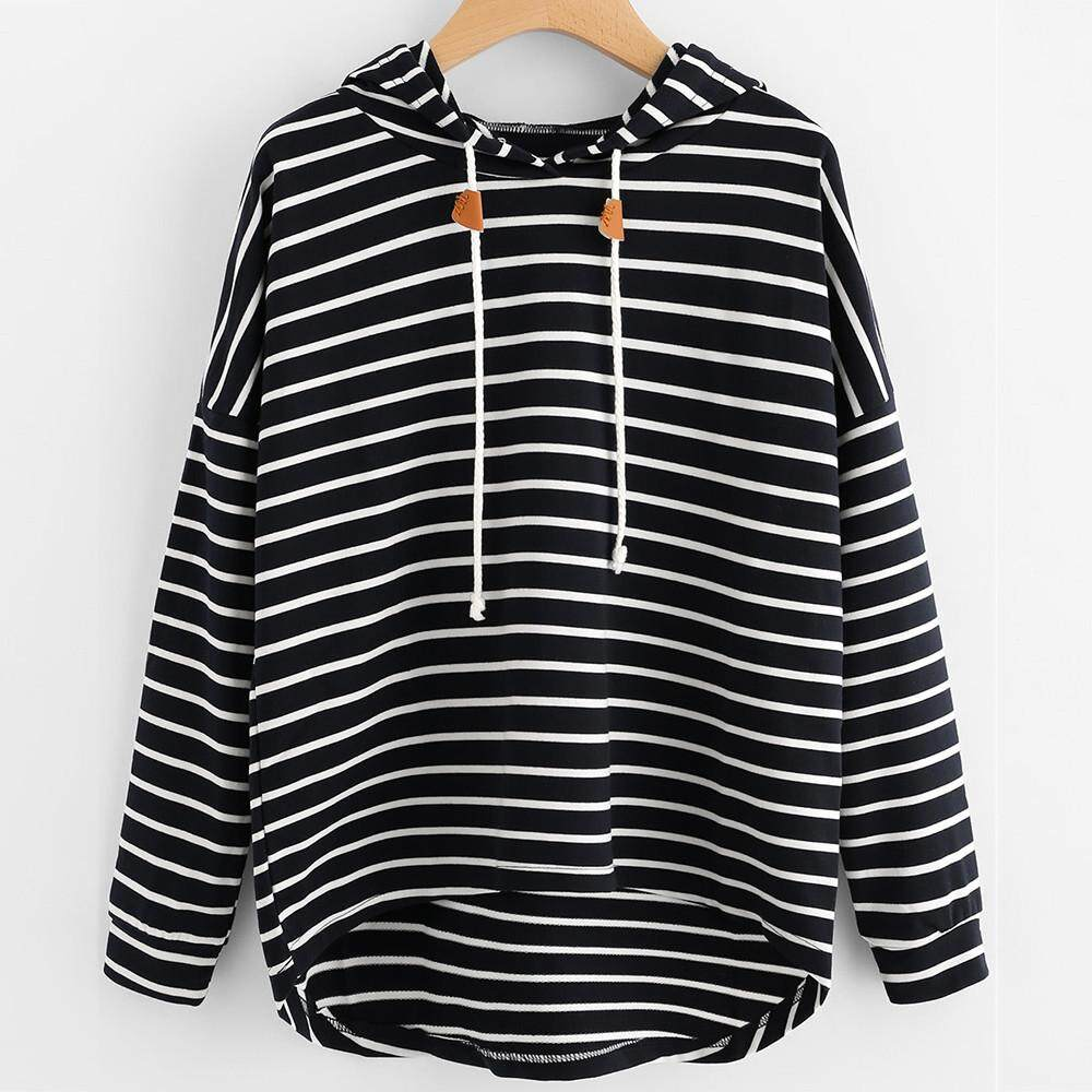 85b8420b573 Hoodies   Sweatshirts Women Plus Size Stripe Casual Sweatshirt Long Sleeve  Crop Jumper Pullover Tops
