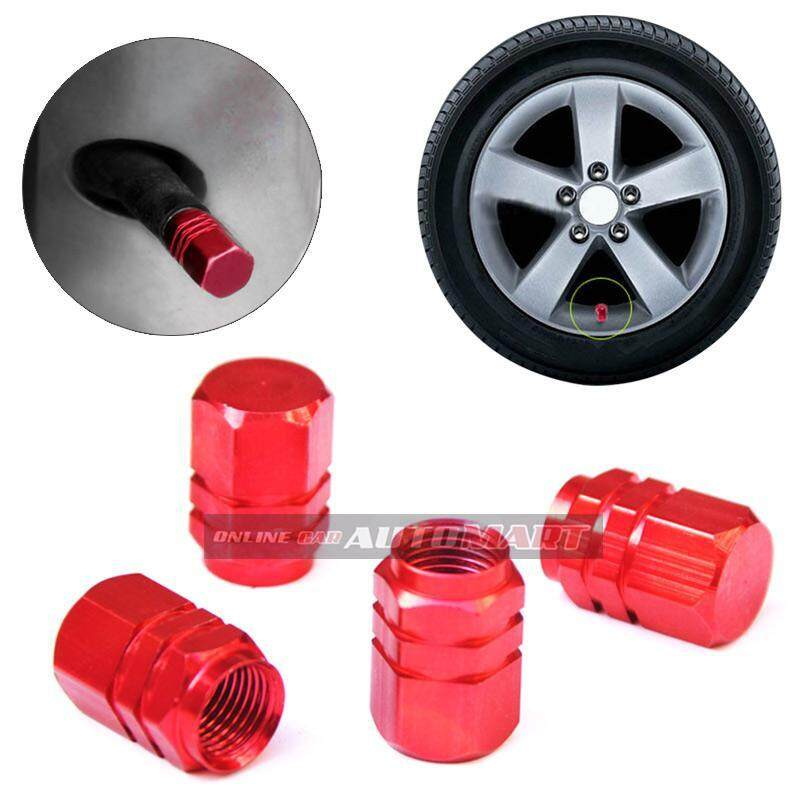 4pcs Aluminium Alloy Tyre Valve Tyre Cap Valve Stem Air Caps Airtight Cove Red By Online Car Automart.