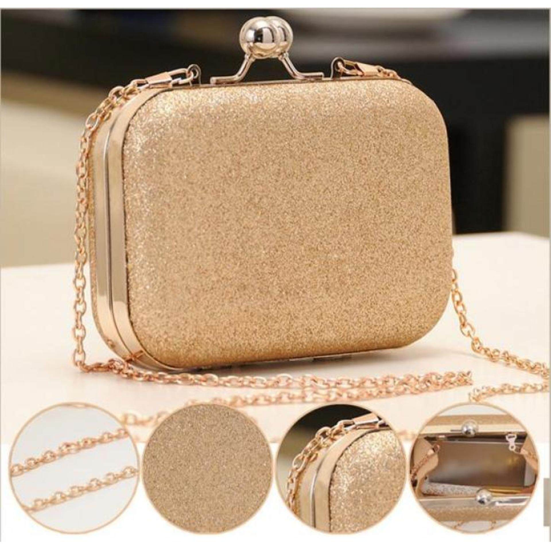 "Linemart New Elegant Mini Party Bag Clutch Women""s Lady Shinning Bag Purse Wallet Golden"