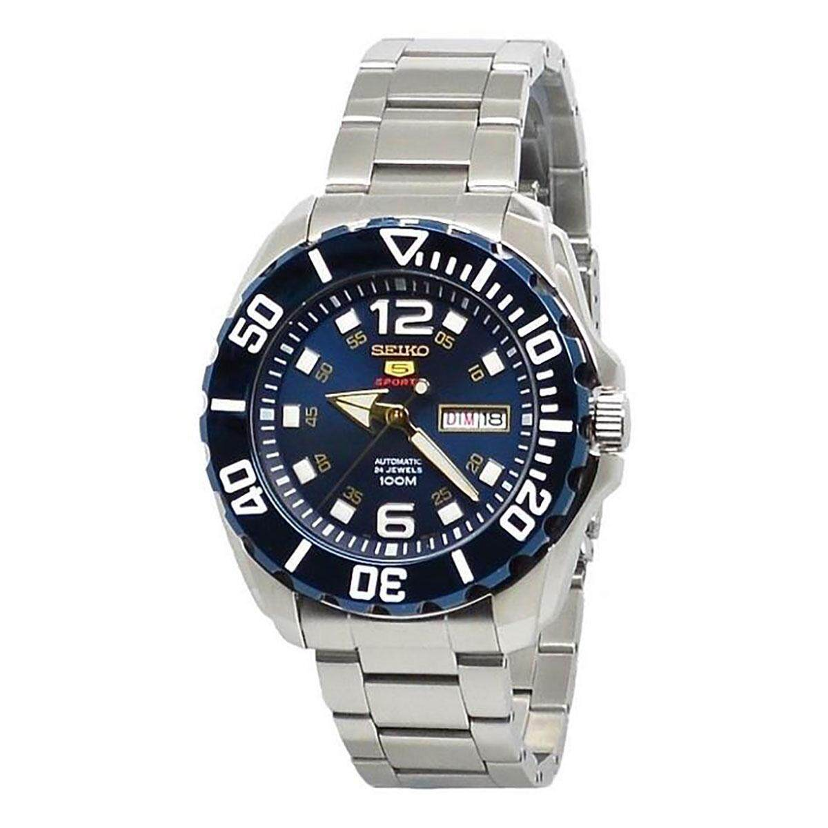 Seiko Mens 5 Sports Baby Monster business Analog Blue Dial Silver Band Stainless-Steel Bracelet Stainless-Steel Case Automatic 100 Meter 10 Bar Water Resistance SRPB37K1 Malaysia