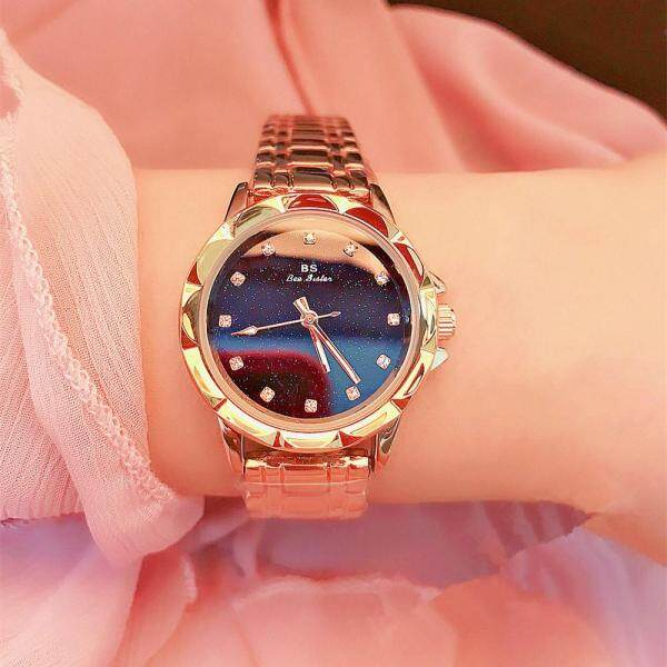 BS Watch Womens Watch Rose Gold Starry Face Blue Sand Stone Dial Romantic Exquisite Ladies Watch Malaysia