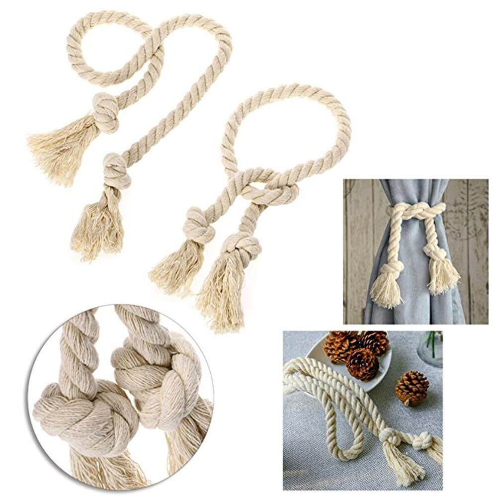 Denetytres  2 Pieces Natural Cotton Curtain Rope Tiebacks-Handmade Curtain Decorative