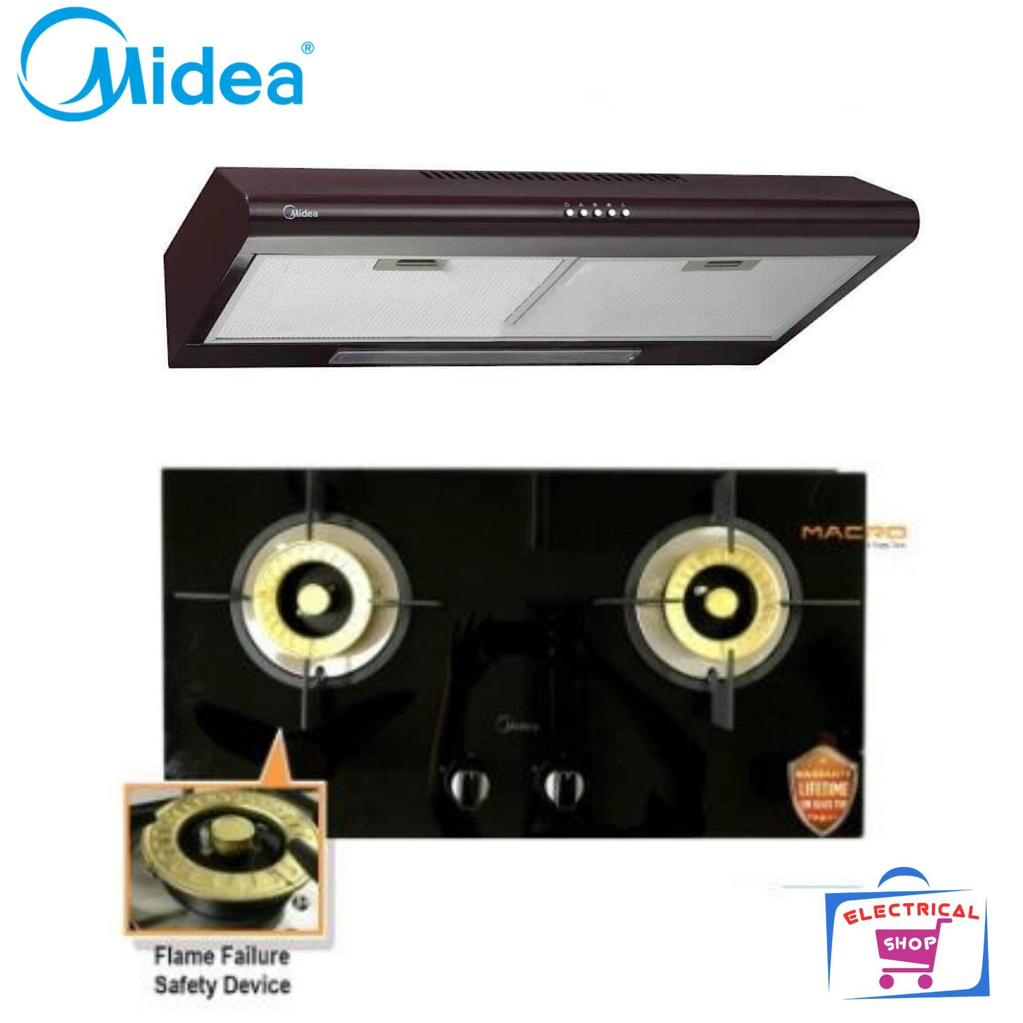 Midea Mch76msp Slim Hood 900m3 Mgh2408gl Gl Hob With Safety Package