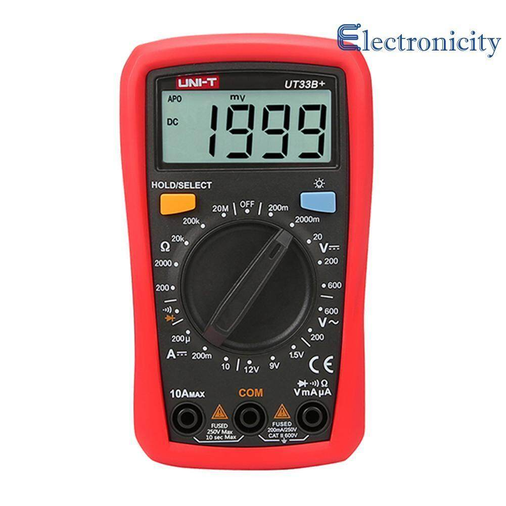 UNI - T Digital Multimeter LCD Display DC AC Ohm Current Resistance Tester ( Red )  - UT33B