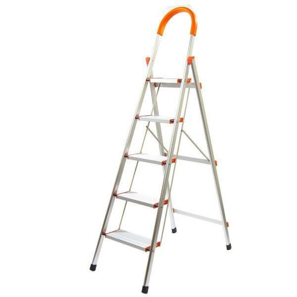 TRENY Wide Tread Aluminum Platform 5 Step Ladder