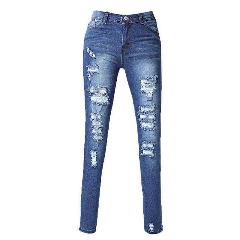201dec75d0c533 Woman's Fashion Cotton Denim Pants Stretch Womens Bleach Ripped Skinny Jeans,  ...
