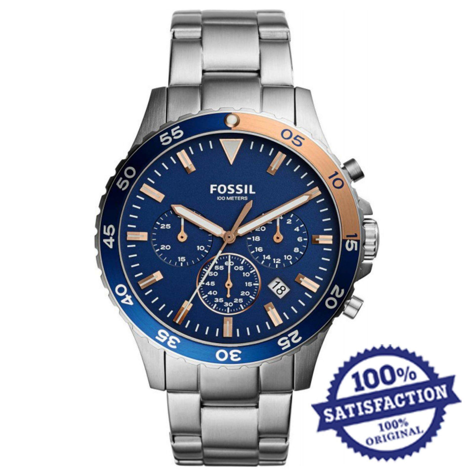 Fossil Ch2600 Jam Tangan Pria Stainless Steel Bracelet Silver Decker Chronograph Ch3059 Watch Blue Dial