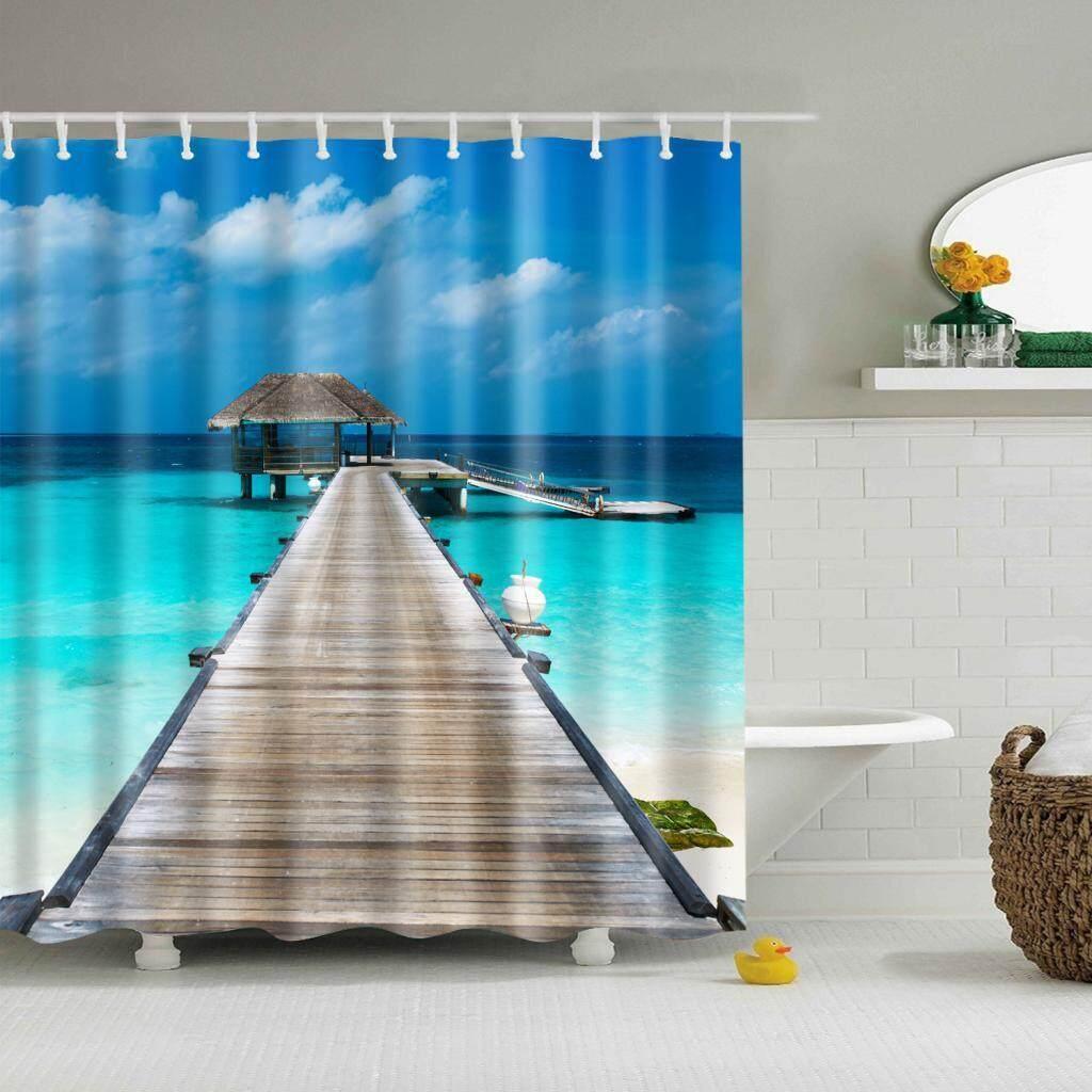 Bolehdeals Polyester Shower Curtain Sheer Decor With Hooks Bathroom Use By Bolehdeals.