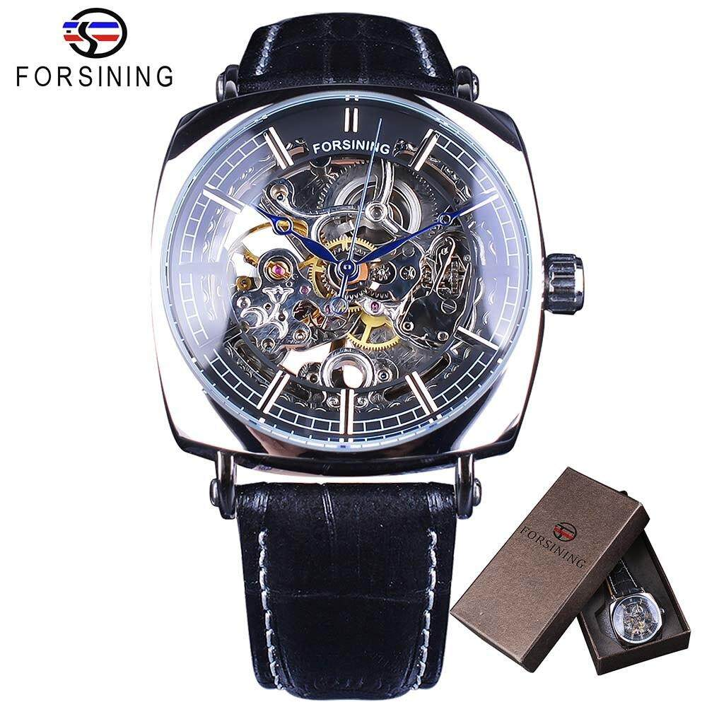 8270e23f82f Forsining Fashion 2018 Design Black Silver Skeleton Leather Belt Square  Dial Mens Mechanical Automatic Watches Top