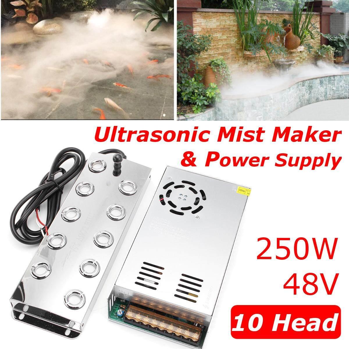 10 Head Ultrasonic Mist Maker Industry Fogger Humidifier 250w + Power Supply By Warmroom.