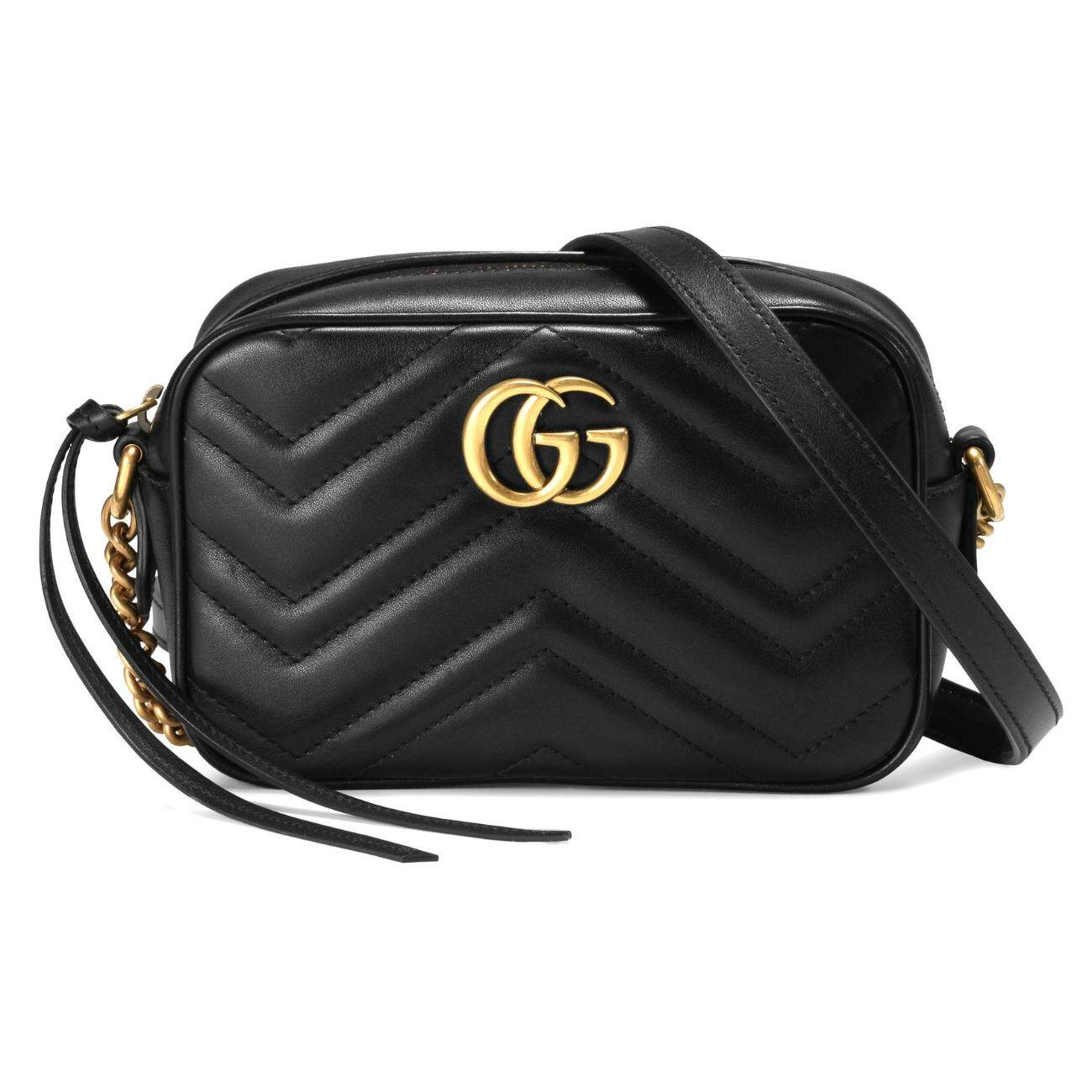 Gucci 448065 Dtd1t 1000 Gg Marmont Matelasse Mini Crossbody Bag Black