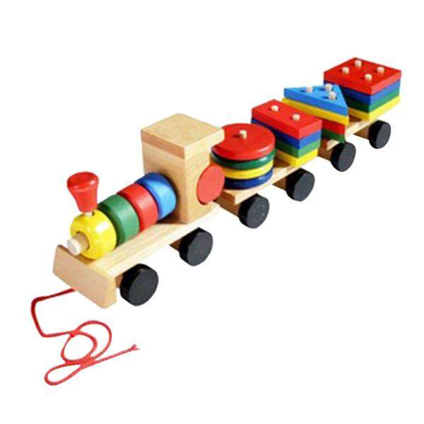 MayLer Store Wooden Geometric Shaped Train Toys 3Sections Puzzle Stack Intellectual